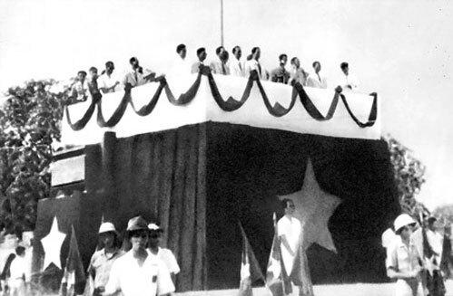 Các lực lượng bảo vệ trong ngày lễ độc lập ngày 2/9/1945. Ảnh tư liệu