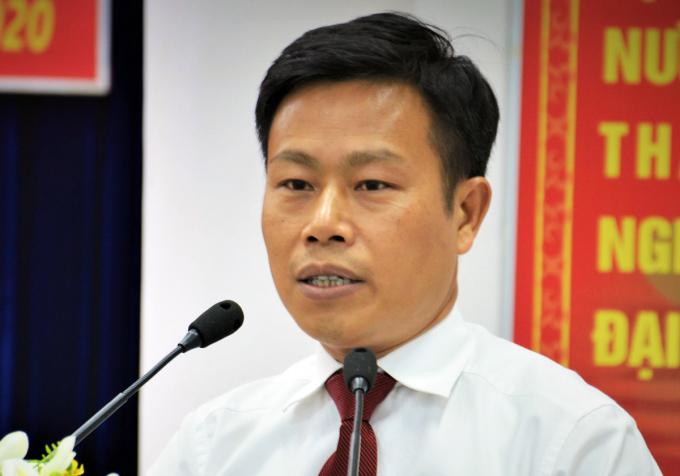 Ông Lê Quân phát biểu sau khi nhận quyết định điều động làm Phó bí thư Cà Mau chiều 29/8. Ảnh: Trung Dũng.