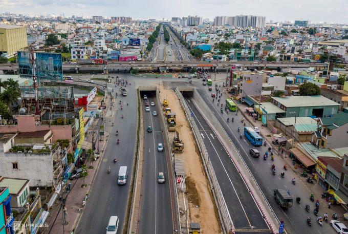 Hầm chui ở nút giao An Sương được thông xe ngày 15/7. Ảnh: Quỳnh Trần.