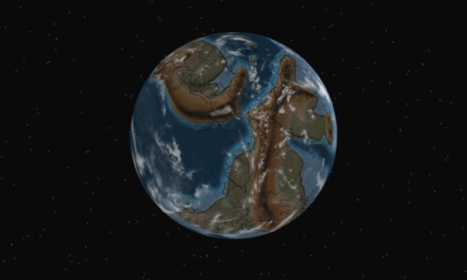 Diện mạo Trái Đất cách đây 750 triệu năm. Ảnh: Ian Webster.