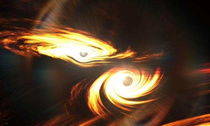 Mô phỏng vụ va chạm của hai hố đen. Ảnh: Space.