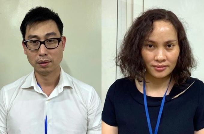 Bị can Phạm Đức Tuấn và Ngô Thị Thu Huyền Công ty BMS. Ảnh:Bộ Công an