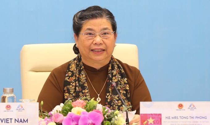 Bà Tòng Thị Phóng, Phó chủ tịch thường trực Quốc hội Việt Nam tại Đại hội đồng liên nghị viện ASEAN lần thứ 41. Ảnh: Hải Ninh