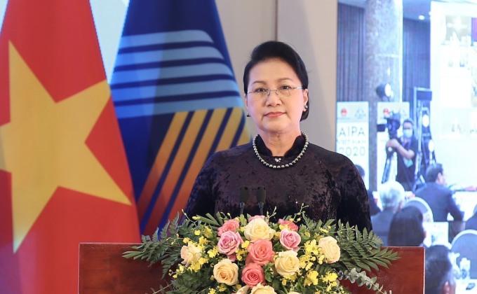 Chủ tịch Quốc hội Nguyễn Thị Kim Ngân phát biểu bế mạc Đại hội đồng Liên nghị viện ASEAN lần thứ 41 sáng 10/9. Ảnh: Hải Ninh