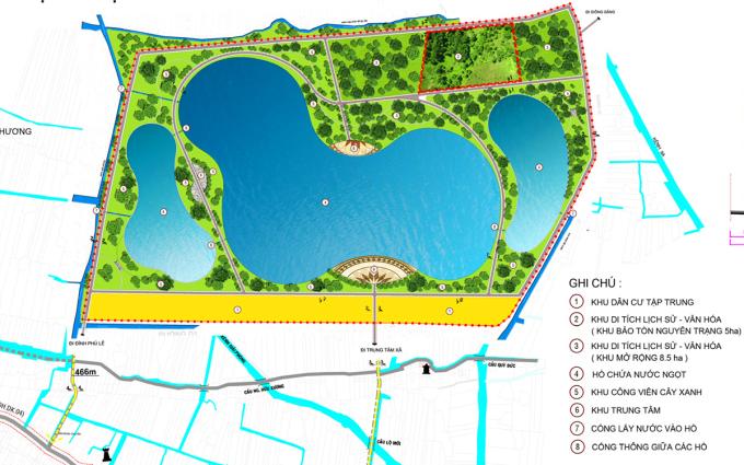 Phối cảnh hồ trữ ngọt Lạc Địa sức chứa 1,3 triệu m3 nước tại Phú Lễ, Ba Tri. Ảnh: Ban quản lý dự án