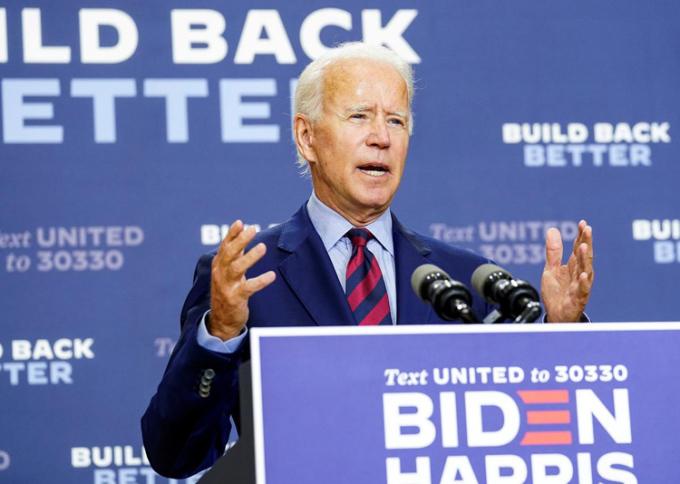 Ứng viên tổng thống của đảng Dân chủ Biden. Ảnh: Reuters.