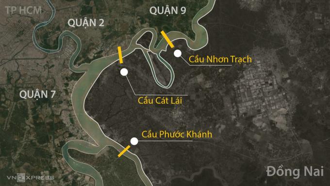 Hệ thống 3 cây cầu nối TP HCM với Đồng Nai. Ảnh: Khánh Hoàng