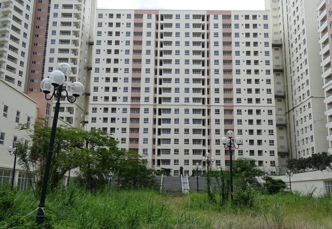 Chung cư tái định cư Bình Khánh, quận 2, hiện bỏ hoang, cỏ mọc um tùm. Ảnh: Hà An.