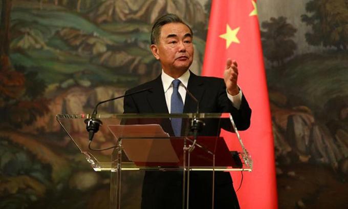 Ngoại trưởng Trung Quốc Vương Nghị tại cuộc họp báo ở Moskva, Nga hôm 11/9. Ảnh: Reuters.