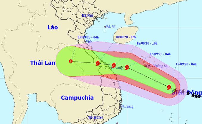 Dự kiến đường đi và vùng ảnh hưởng của bão Noul. Ảnh: NCHMF