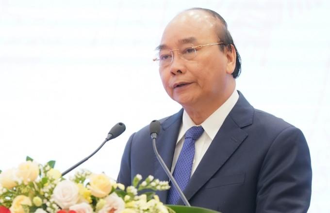 Thủ tướng Nguyễn Xuân Phúc phát biểu tại Đại hội thi đua yêu nước Mặt trận Tổ quốc Việt Nam sáng 18/9. Ảnh: Quang Vinh