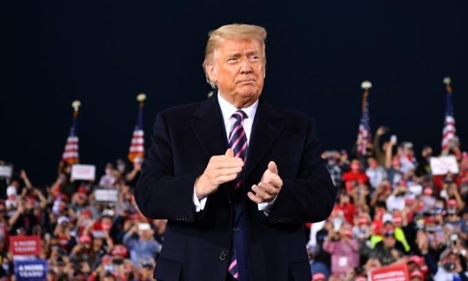 Tổng thống Mỹ Donald Trump phát biểu tại bang Pennsylvania hôm 22/9. Ảnh: AFP.