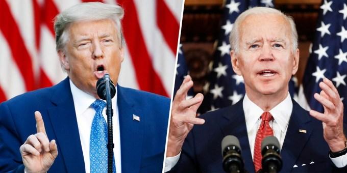 Tổng thống Trump (trái) và ứng viên đảng Dân chủ Joe Biden. Ảnh: AP.