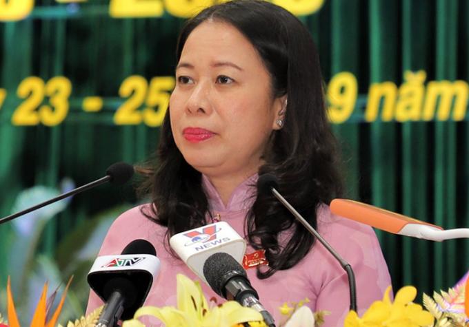 Bà Võ Thị Ánh Xuân tại Đại hội Đảng bộ tỉnh An Giang khoá XI. Ảnh: Cửu Long