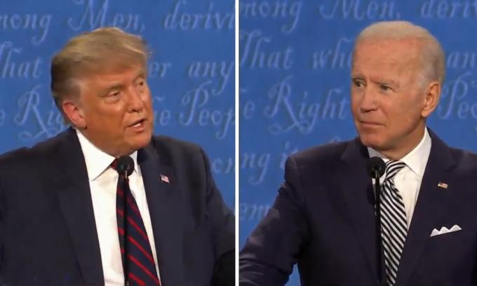 Trump (trái) tranh luận với Biden (phải).