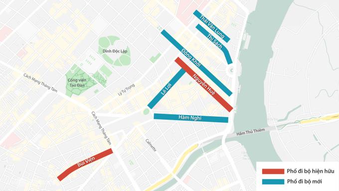 5 tuyến đường đi bộ đề xuất (màu xanh) và 2 phố hiện hữu (đỏ). Đồ họa:Thanh Huyền.