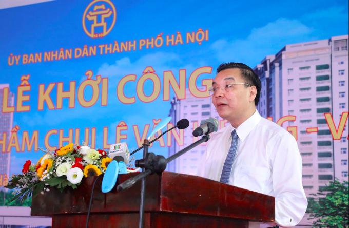 Chủ tịch UBND TP Hà Nội Chu Ngọc Anh phát biểu tại lễ khởi công. Ảnh: Võ Hải.