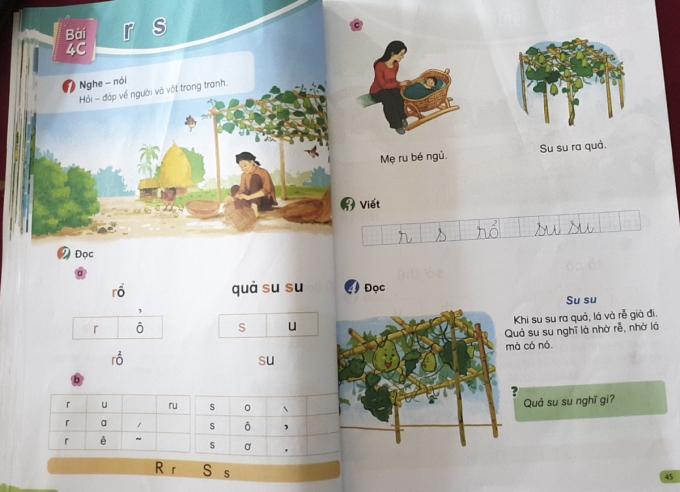 Một bài học trong tuần 4 theo sách Tiếng Việt Cùng học để phát triển năng lực. Ảnh: Quỳnh Chi.