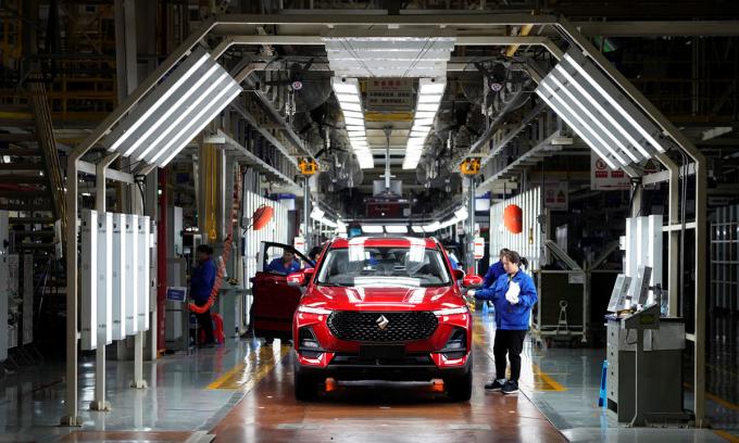 Nhà máy lắp rắp của hãng ô tô Mỹ General Motors và đối tác Trung Quốc ở thành phố Liễu Châu, tỉnh Quảng Tây. Ảnh: Reuters.