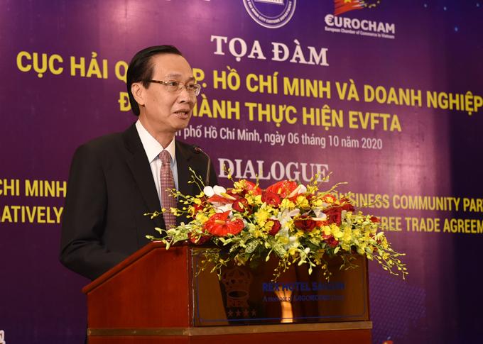 Phó chủ tịch UBND TP HCM Lê Thanh Liêm phát biểu chỉ đạo. Ảnh: Hải quan TP HCM.
