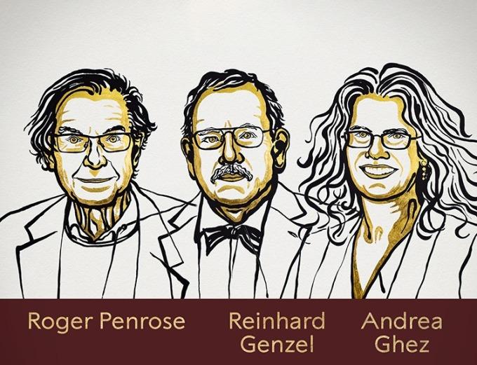Ba nhà nghiên cứu có những đóng góp đột phá về hố đen. Ảnh: Twitter.