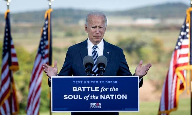 Ứng viên tổng thống đảng Dân chủ Joe Biden phát biểu tại Gettysburg, bang Pennsylvania, Mỹ, hôm 6/10. Ảnh: AFP.