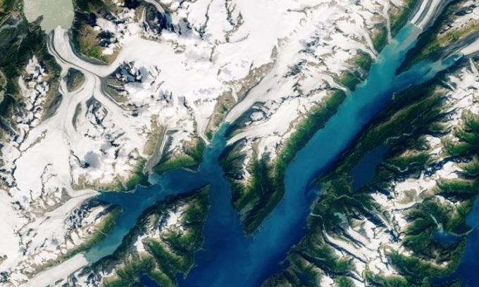 Ảnh vệ tinh chụp vịnh Barry Arm và vịnh Harriman ở phía nam Alaska. Ảnh: Đài quan sát Trái Đất NASA.