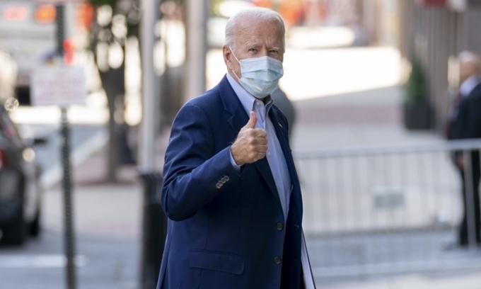 Ứng viên tổng thống đảng Dân chủ Joe Biden tại New Castle, Delaware, hôm 7/10. Ảnh: AP.