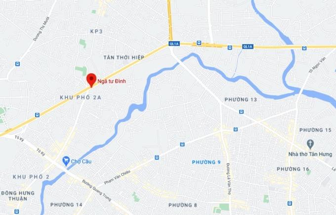 Vị trí Ngã tư Đình ở quận 12 - nơi đề xuất dự án cầu vượt. Ảnh: Google maps.