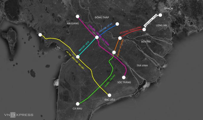 7 dự án cao tốc ở Đồng bằng sông Cửu Long. Đồ họa: Thanh Huyền.
