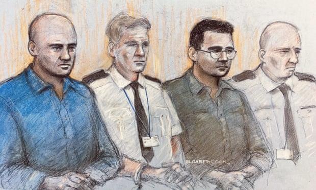 Phác thảo các bị cáo Gheorghe Nica (áo xanh) và Eamonn Harrison (áo đen) tại toà án Old Bailey, London. Ảnh: PA.