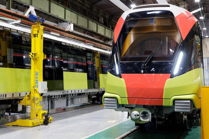 Những đoàn tàu đầu tiên của dự án đường sắt Nhổn - ga Hà Nội dự kiến được vận chuyển về trong tháng 10. Ảnh Ban quản lý dự án đường sắt Hà Nội cung cấp.