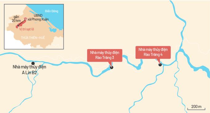 Bản đồ vị trí thuỷ điện Rào Trăng 3 và 4. Đồ hoạ: Tiến Thành