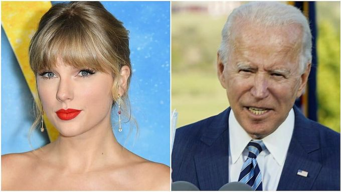 Ca sĩ Taylor Swift (trái) và ứng phiên tổng thống đảng Dân chủ Joe Biden. Ảnh: AFP/Reuters.