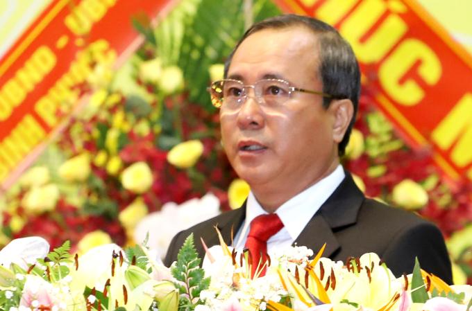 Bí thư Tỉnh ủy Bình Dương Trần Văn Nam tại đại hội sáng 15/10. Ảnh: Nguyệt Triều.