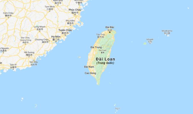 Đảo Đài Loan (Trung Quốc). Đồ họa: Google.