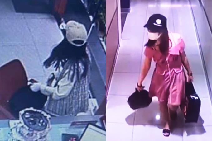 Thắng trong ngân hàng và khi bỏ trốn. Ảnh: Camera an ninh.
