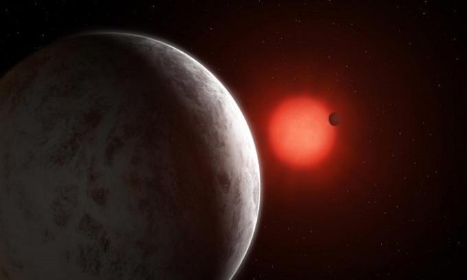 Mô phỏng hệ sao bao gồm 2 hành tinh TOI-1266 b và c. Ảnh: Mark Garlick.