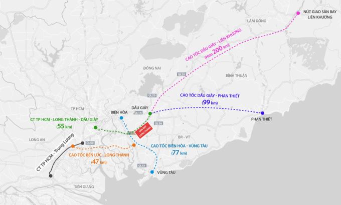 Năm tuyến cao tốc kết nối sân bay Long Thành. Đồ hoạ: Thanh Huyền.