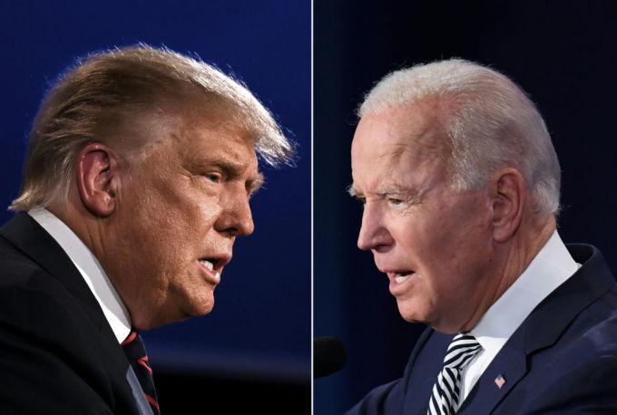 Tổng thống Trump (trái) và ứng viên đảng Dân chủ Joe Biden trong cuộc tranh luận đầu tiên ở Ohio ngày 29/9. Ảnh: AFP.