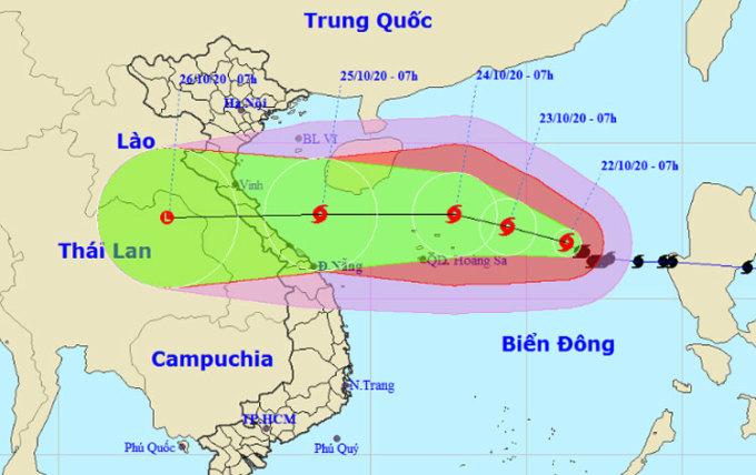 Dự báo đường đi và vùng ảnh hưởng của bão. Ảnh: NCHMF
