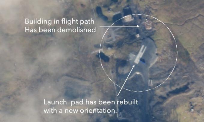 Vị trí bệ phóng mới được xây lại ở bãi thử Panvoko cuối tháng 9. Ảnh: Planet Labs.