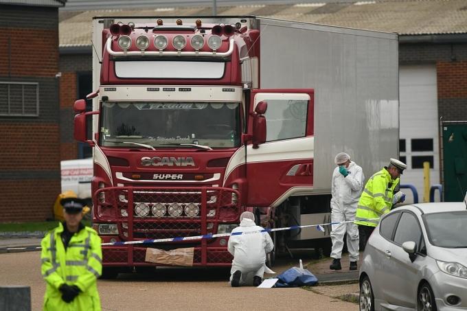 Chiếc xe container nơi 39 thi thể người Việt được tìm thấy tháng 10/2019 ở hạt Essex, Anh. Ảnh: PA.