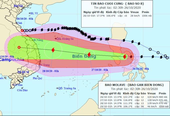 Hướng di chuyển của bão Molave sau khi vào Biển Đông. Ảnh: NCHMF.