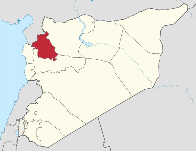 Tỉnh Idlib (màu đỏ) của Syria. Đồ họa: Wikimedia.