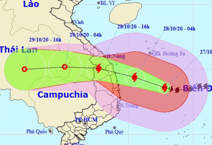 Ảnh đường đi của bão Molave lúc 17h chiều nay. Ảnh: NCHMF.