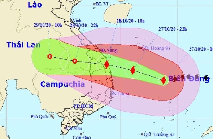 Hướng di chuyển của bão Molave theo bản tin dự báo lúc 11h ngày 27/10 của NCHMF. Ảnh: NCHMF.