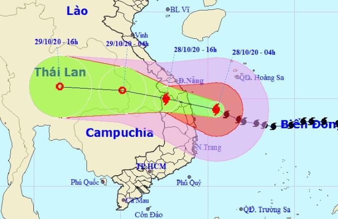 Đường đi của bão Molave lúc 5h ngày 27/10. Ảnh: NCHMF.