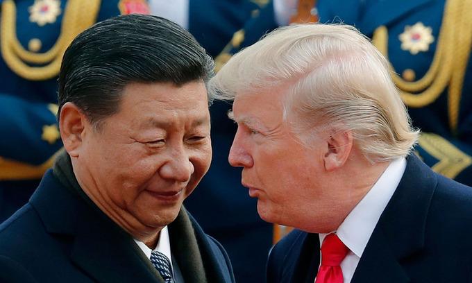 Tổng thống Donald Trump (phải) và Chủ tịch Tập Cận Bình tại Bắc Kinh năm 2017. Ảnh:AP.