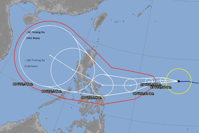 Mô hình dự báo hướng di chuyển bão Goni của Đài khí tượng Nhật Bản.